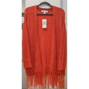 Michael Kors Long Orange Knit Fringe Sweater